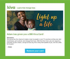 preview of email Kiva Card