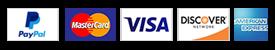 PayPal, Mastercard, Visa, Discover, American Express